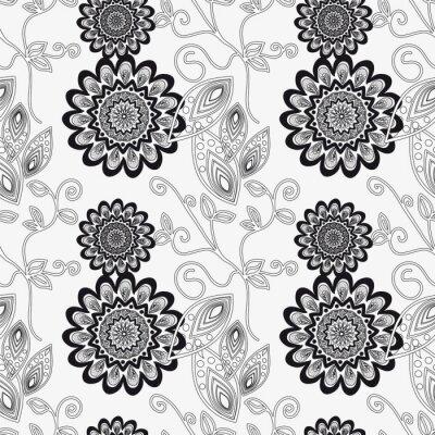 Adesivo Ornamento floral em preto e branco.