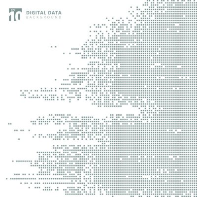 Adesivo Os dados digitais abstratos da tecnologia esquadram o fundo cinzento do pixel do teste padrão.