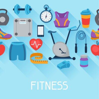 Adesivo Ostenta padrão sem emenda com ícones de fitness em estilo plano.