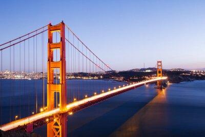 Adesivo Ouro, portão, ponte, azul, céu, amanhecer