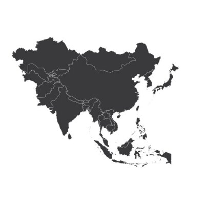 Adesivo Outline on clean background of the continent of Asia