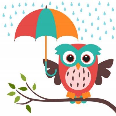 Adesivo owl and umbrella rain