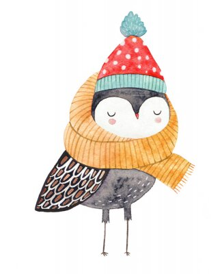 Adesivo owl in a scarf and hat - watercolor drawing