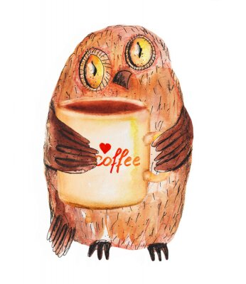 Adesivo Owl with cup of coffee. Watercolor Hand drawing