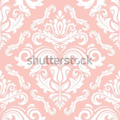 Adesivo Padrão clássico vector Oriental. Sem costura abstrato com repetição de elementos. Rosa e branco padrão