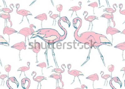 Adesivo padrão com flamingos cor de rosa na água em poses diferentes e duas flamingas com pescoço em forma de coração