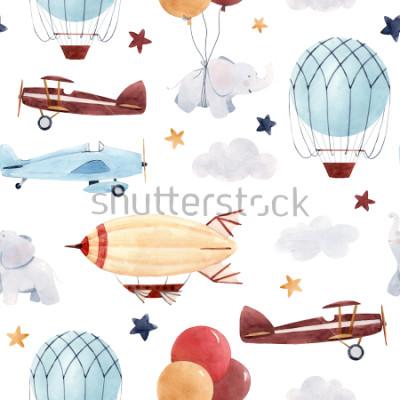 Adesivo Padrão de aquarela bonito crianças. Papel de parede para menino, céu estrelado com aeróstato, dirigível e aviões, elefantes e balões.