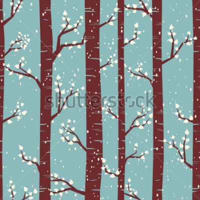 Adesivo Padrão de azulejos sem costura com bétulas sob a queda de neve.