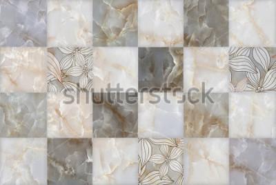 Adesivo Padrão de blocos de pedra de marmore abstrata