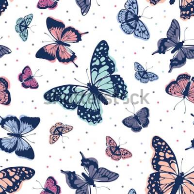 Adesivo Padrão de borboletas de vetor. Abstrato sem emenda.