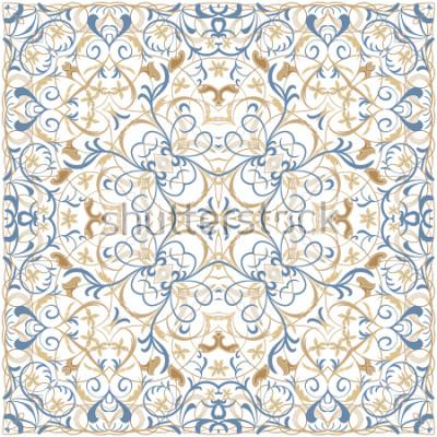 Adesivo Padrão de cor brilhante em estilo oriental. Ornamento quadrado para xales, lenços ou travesseiro. Pode ser usado para impressão em tecido ou papel. Ilustração vetorial.