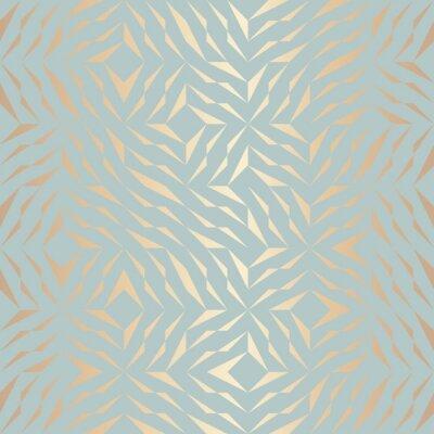 Adesivo Padrão de elemento dourado geométrico de vetor sem costura. Textura de cobre de fundo abstrato em azul-verde. Impressão gráfica minimalista simples. Grade de treliça turquesa moderna. Geometria sagrad