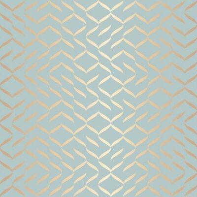 Adesivo Padrão de elemento dourado geométrico vetor sem emenda. Textura abstrata do cobre do fundo no verde azul. Impressão gráfica minimalista simples. Grade moderna da treliça de turquesa. Design de papel d