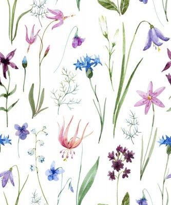 Adesivo Padrão de flores silvestres de aquarela