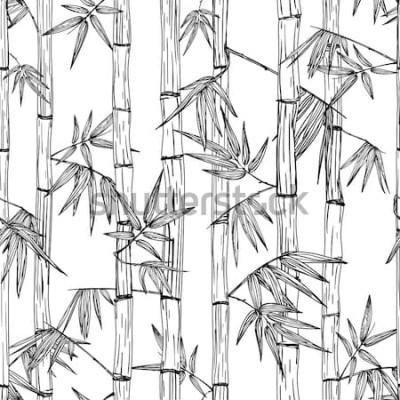 Adesivo Padrão de floresta de bambu sem emenda de vetor. Fundo de esboço desenhado mão preto e branco. Design para impressão de moda têxtil, spa e massagem asiática, pacote de cosméticos, materiais para móvei