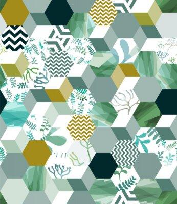 Adesivo Padrão de fundo sem emenda na moda com azulejos hexagonais em verde, eps10