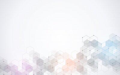 Adesivo Padrão de hexágonos. Abstrato geométrico com elementos hexagonais simples. Projeto de medicina, tecnologia ou ciência.