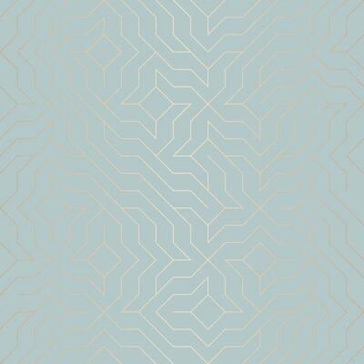 Adesivo Padrão de linha dourada geométrica de vetor sem costura. Textura de cobre de fundo abstrato em azul-verde. Impressão gráfica minimalista simples. Grade de treliça turquesa moderna. Geometria sagrada d