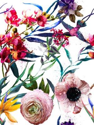 Adesivo Padrão de moda floral exótica sem costura