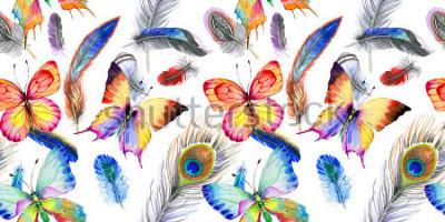 Adesivo Padrão de penas de pássaro aquarela da asa. Flor selvagem para o fundo, uma textura, o padrão padrão do ambiente, o quadro ou a beira.