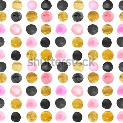 Adesivo padrão de pontos de ouro e rosa. mão de aguarela desenhada