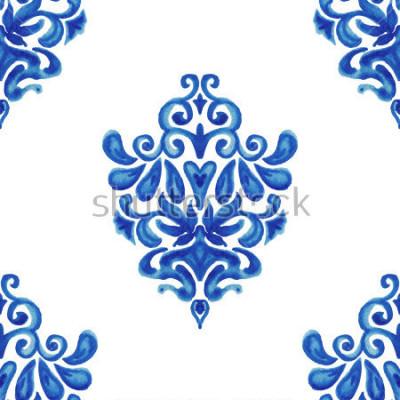 Adesivo Padrão de telha abstrata sem costura ornamental pintura aquarela para tecido