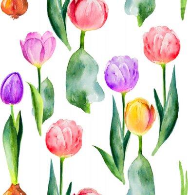 Adesivo Padrão de tulipa sem costura no fundo branco