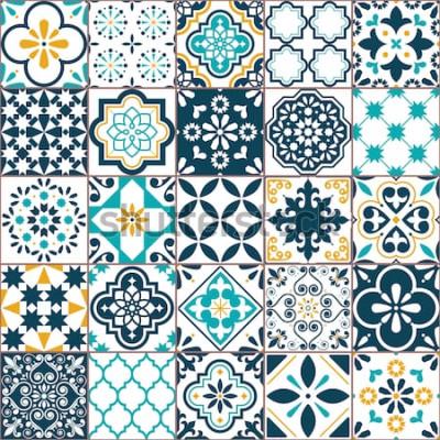 Adesivo Padrão de vetor de telha de Azulejo geométrico de Lisboa, mosaico de azulejos antigos portugueses ou espanhóis, turquesa sem costura mediterrânea e design amarelo. Fundo ornamental têxtil