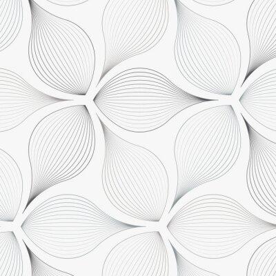 Adesivo padrão de vetor linear, repetindo folhas de flores abstratas, linha cinza de folha ou flor, floral. design gráfico limpo para tecido, evento, papel de parede etc. o padrão está no painel de amostras.