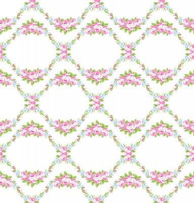 Adesivo Padrão floral com rosas rosas do jardim