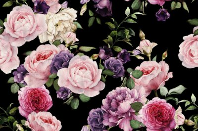 Adesivo Padrão floral sem costura com rosas, aguarela