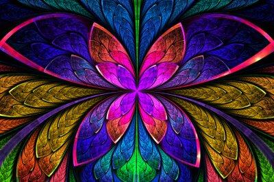 Adesivo Padrão fractal simétrico multicolorida como flor ou borboleta