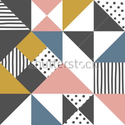 Adesivo Padrão geométrico. O fundo abstrato do triângulo com a listra tirada mão e o às bolinhas Vector a ilustração.