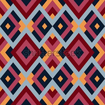 Adesivo Padrão geométrico vetorial sem costura com triângulos e quadrados. Fundo abstrato sem fim para design nas cores vermelhas, azuis e amarelas