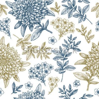 Adesivo Padrão sem alteração floral. Elementos de flor esboçado linear. Design de tecido vintage. Ilustração vetorial