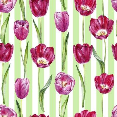 Adesivo Padrão sem costura aquarela desenhada a mão com tulipas
