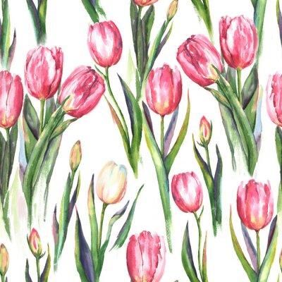 Adesivo Padrão sem costura aquarela desenhado à mão com flores de tulipa rosa e branca. Impressão de primavera repetida para o têxtil, papel de parede. Tender and beautiful background