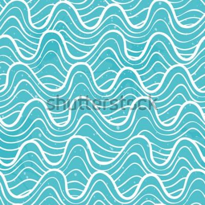 Adesivo Padrão sem emenda com as ondas do oceano em um estilo decorativo. Ilustração vetorial