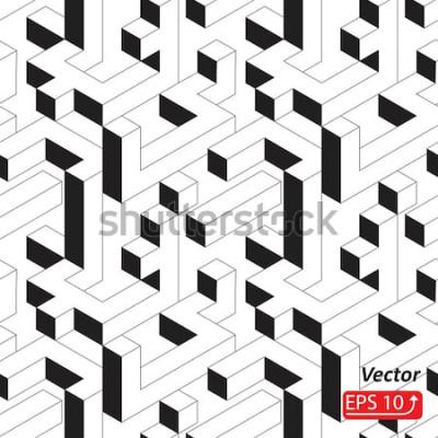 Adesivo Padrão sem emenda com casas, edifícios, cidade, cidade em estilo isométrico. Ilustração em vetor fundo abstrato 3D preto e branco