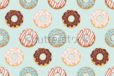 Adesivo Padrão sem emenda com donuts vitrificadas. Cores azuis e chocolate. Feminino. Para impressão e web.