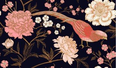 Adesivo Padrão sem emenda com faisões exóticos pássaro e peônia flores.