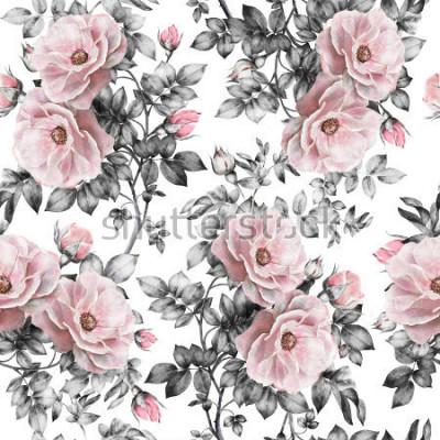 Adesivo Padrão sem emenda com flores cor de rosa e folhas no fundo branco, teste padrão floral aquarela, flor rosa em cor pastel, padrão de flor perfeita para papel de parede, cartão ou tecido