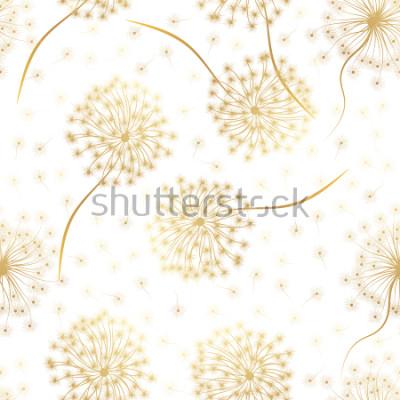 Adesivo Padrão sem emenda com flores Dandelion. Ilustração vetorial