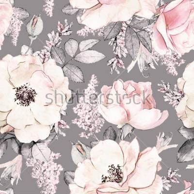 Adesivo Padrão sem emenda com flores de cor rosa e folhas sem fundo cinza, padrão floral em aquarela, flor rosa em cor pastel, tileable para papel de parede, cartão ou tecido