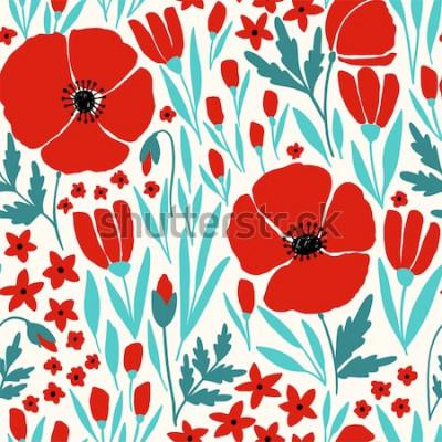 Adesivo Padrão sem emenda com flores vermelhas de papoula