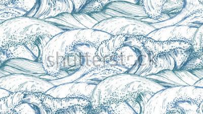 Adesivo Padrão sem emenda com mão desenhada mar ondas no estilo de desenho. Fundo infinito do vetor em cores azuis.
