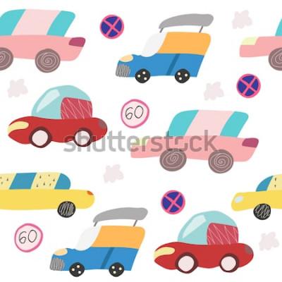 Adesivo Padrão sem emenda com mão desenhado carro na estrada. Estilo escandinavo para crianças. Ilustração dos desenhos animados