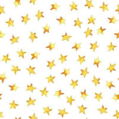 Adesivo Padrão sem emenda da mão desenhando estrelas simples amarelas em stile infantil de desenhos animados sobre fundo branco