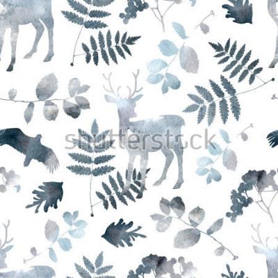 Adesivo Padrão sem emenda de floresta do Norte com veados, pássaros, elementos de folha. Aquarela mão desenhada