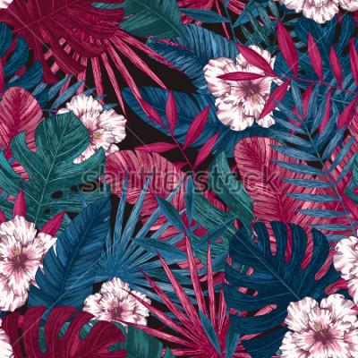 Adesivo Padrão sem emenda de folhas e flores exóticas. Fundo floral tropical. Ilustração vetorial